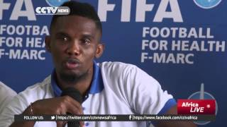 Football star Samuel Eto'o promotes health in Sierra Leone