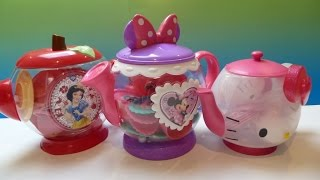 "3 Bộ Bình Trà ""  Hello Kitty"" (Bí Đỏ) 3 Giant Tea sets Snow White, Minnie Mouse, HelloKitty"