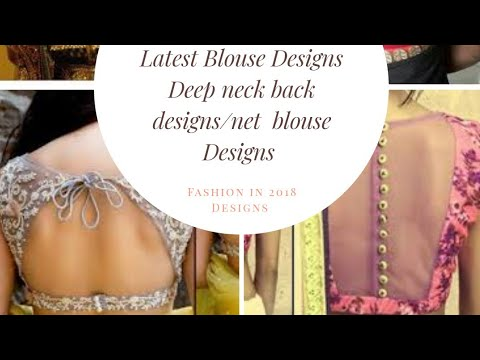 Latest Blouse Designs ladies /net fabric blouse/deep neck back designs #fashion #designs #blouse