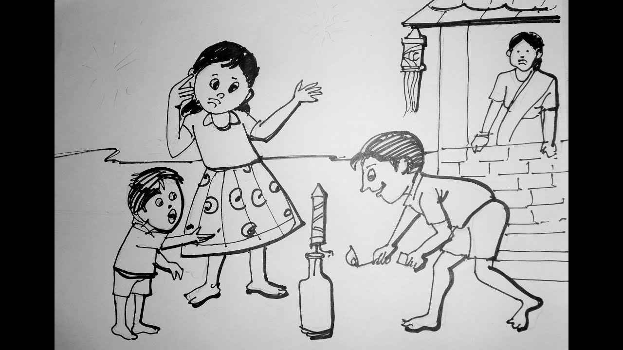Festival Memory Drawing Diwali Drawing For Kids
