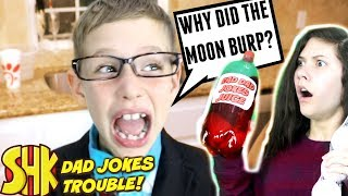 Dad Jokes Trouble! Noah Can't Stop Telling Bad Dad Jokes   SuperHeroKids