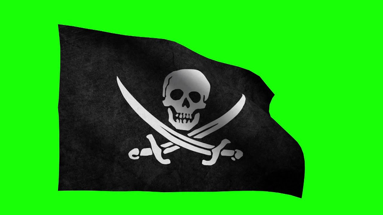 Pirate Flag Waving Pirate Flag Green Screen Fhd