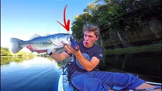 Bass Crushes GIANT Topwater Lure -- Clear Water Kayak Fishing