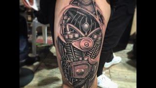 No Stencil, No Sketching, Biomechanical tattoo 2014 freestyle by tery do