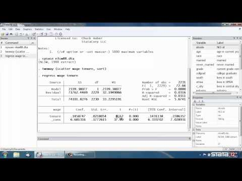 Simple linear regression in Stata