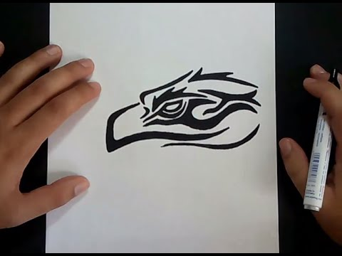 Como dibujar un aguila tribal paso a paso How to draw a tribal eagle