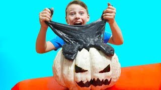Ali on Halloween Making Pumpking Satisfying Slime with Funny Balloons video for KidS
