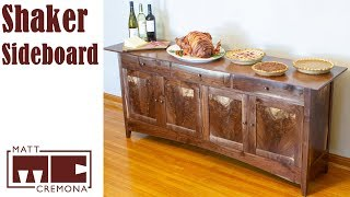 Shaker Inspired Walnut Sideboard with Sequential Crotch Panels