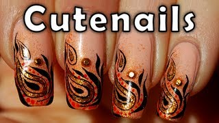 Nail art design : Ethnic gold & orange by cute nails