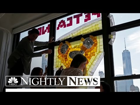 Creative Post-it Battle Takes Over New York City Office Windows | NBC Nightly News