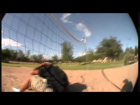 Daniel gets his ass kicked by a volleyball net. xD Video