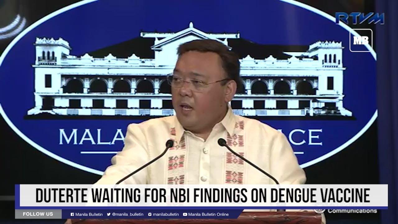 Duterte waiting for NBI findings on dengue vaccine