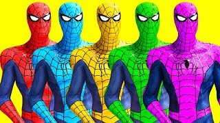 3D Colorful Spidermans Saving Girls Version 2