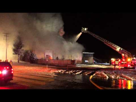 Beaver Dam WI Old Green Giant Building Fire Sun January 4, 2015