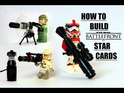 How to build custom Star Wars Battlefront weapons/star cards/power ups! LEGO Star Wars MOC