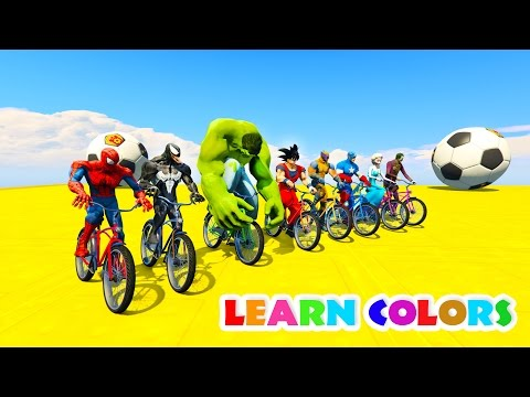 LEARN COLORS BIKES for kids w/ Superheroes  Cartoon for children Nursery rhymes