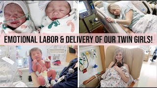 *EMOTIONAL* LABOR & DELIVERY VLOG AFTER INFERTILITY | OUR TWIN GIRLS ARE HERE | DELIVERY AT 33 WEEKS