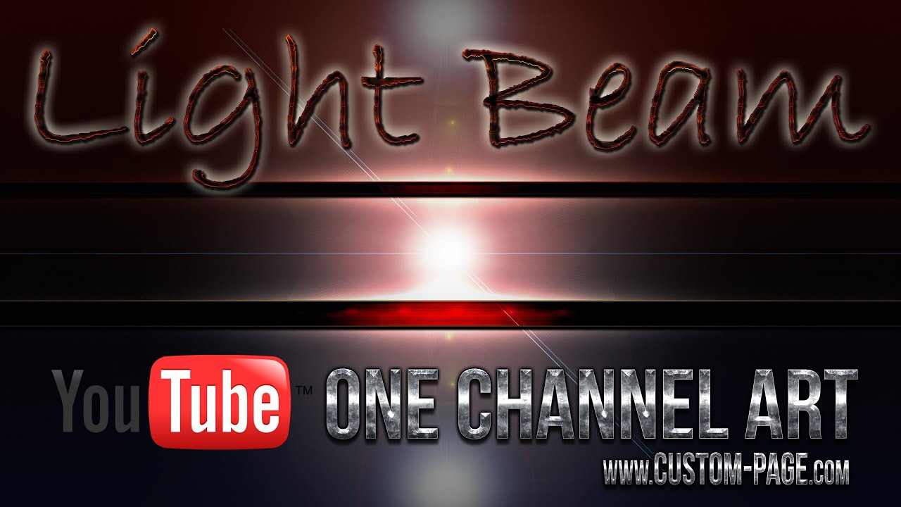 Light Beams Gaming Style YouTube One Channel Art Template Photoshop PSD YouTube