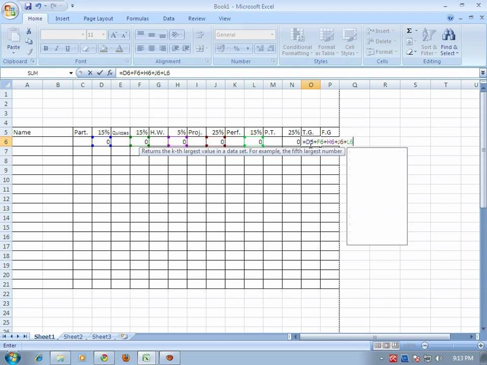 how to make grading sheet using ms-excel 2007 wmv