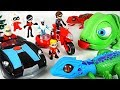 Giant Lizard, Chameleon Appeared! Incredibles 2 Family's Elasticycle, Black Car! Go!   DuDuPopTOY