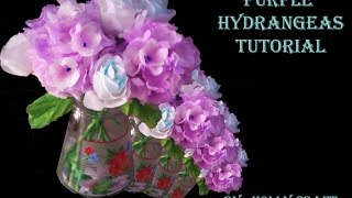 Tissue Paper Flowers Tutorial  : Purple Hydrangeas
