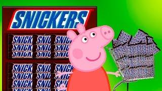 Свинка Пеппа Купила 100 Сникерс. Пеппа подарила друзьям сникерсы на русском все серии подряд Peppa