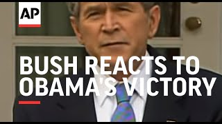 President Bush reacts to Obama