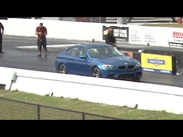 2013 BMW M5 F10 Drag Racing 1/4 Mile Launch Control runs 11.9 @ 118 MPH All Stock