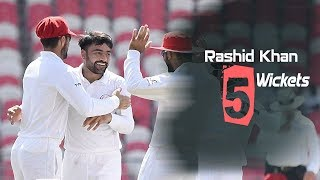 Rashid Khan's 5 Wickets Against Ireland || Only Test || Day 3 || Afg vs Ire in India 2019
