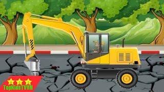 topkidstvvn-Xe máy xúc và ô tô chở cát đá-Dump trucks and excavators for kids