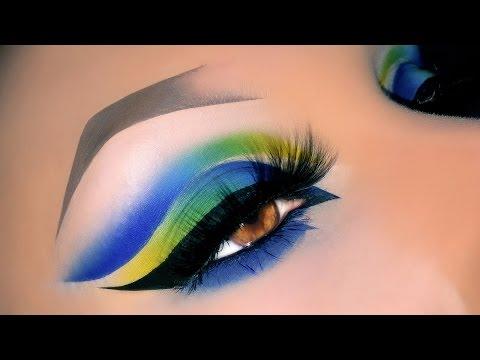 Sexy Arabic Peacock Spring Blue Cut Crease Makeup Tutorial