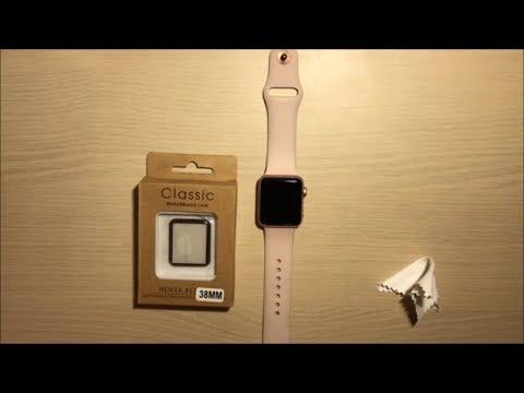 Наклейка защитного 3D стекла на часы apple watch 38мм