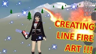 [School Girls Simulator] CREATING LINE ART FIRE WITH SURFBOARD!!