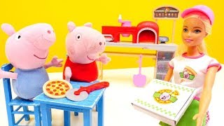 Peppa Wutz geht in die Pizzeria. Video für Kinder.