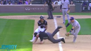 Umpire gets taken down in a three-way collision, a breakdown