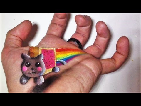 Trick Art on Hand - Nyan Cat 3D