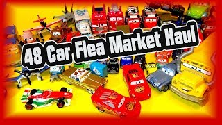 Pixar Cars Disney Planes Massive 48 Kids Toys Flea Market Haul with Bonus XRS Cruz and Mater