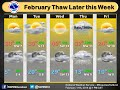 Cold temperatures to start the week, then a warming trend.
