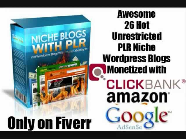 Awesome 26 Hot Unrestricted PLR Niche WordPress Blogs Monetized with Clickbank, Amazon & Adsense