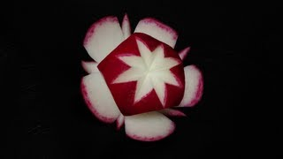 Red Radish Star Flower - Beginners Lesson 7 By Mutita The Art Of Fruit And Vegetable Carving Video