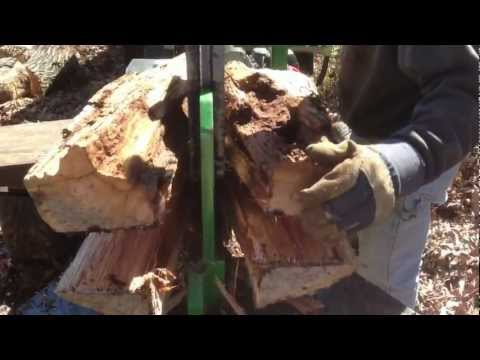 Huge Homemade Wood Splitter with Auto-Cycle in Action