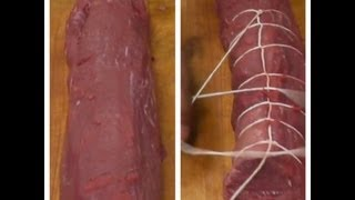How to Tie a Whole Beef Tenderloin - Tying a Filet Mignon of Beef - How to Tie Meat. Beef Roast