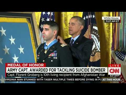 Army Cpt. Florent Groberg awarded Medal of Honor by President Obama
