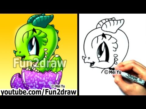 How to Draw a Dragon - Baby Dragon - Learn to Draw - Art Lessons - Fun2draw