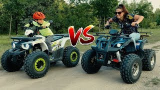 Den vs Mom - Funny Race on kids Colored Quad Bike in the park!