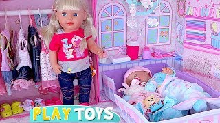 Big Sister Doll Feeding and Dressing Twin Baby Born Dolls! 🎀