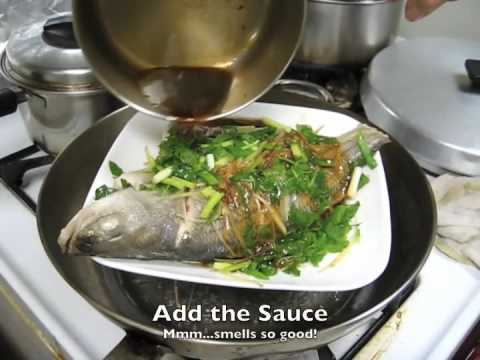 Simple steamed fish with ginger shallots and greens youtube for How to steam fish