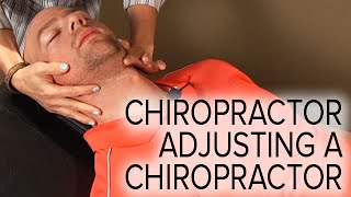 Chiropractic Spinal and Neck Adjustment on a Chiropractor (Female Doctor, Male Patient)