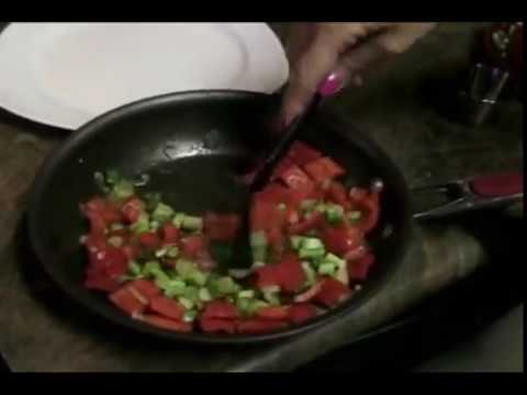 the cutting board – making a side dish – Red Bell Peppers and Green Onions
