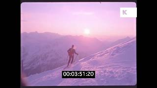 1970s Man Skiing in The Alps, Sunset, HD from 35mm